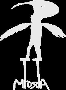 Logo von Midria e.V., ein Vogel auf Stelzen